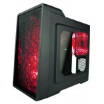 APEVIA X-EnerQ ATX Metal PC Case w/ Side Window - Red - 1 x 120mm Front Red LED Fan - 1 x 120mm Side Red LED Fan - 1 x USB 3.0 - 2 x USB 2.0 - Audio Ports - SD Card Reader (X-ENERQ-RD) Computer Cases