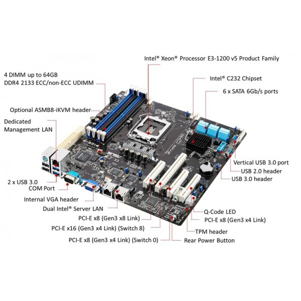 asus p10s-m commercial server micro atx motherboard - socket lga 1151