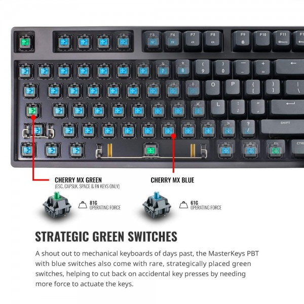 Cooler Master Masterkeys L Pbt Gaming Mechanical Keyboard Cherry Mx Blue W 4 Green Switches Thick