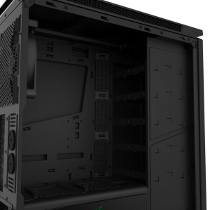 NZXT H440 Razer Special Edition ATX Mid Tower Computer Case - 2x USB 3.0 - 3x 120mm Front Fans - 1x 140mm Rear Fan - 5mm Thick Sound Dampening Panels - Liquid Cooling Ready - PSU Shroud w/ SSD Mounts - Integrated 10-port PWM fan hub (CA-H442W-RA) Computer